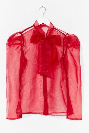 Fuchsia Bow 'Em How It's Done Organza Blouse