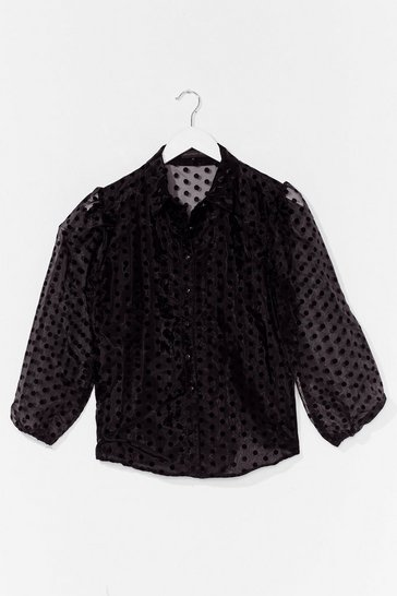 Black Dot Something for You Organza Puff Sleeve Blouse