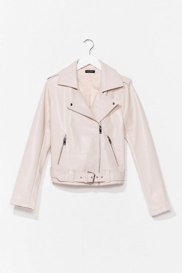 Blush That's Our Moto Belted Faux Leather Jacket