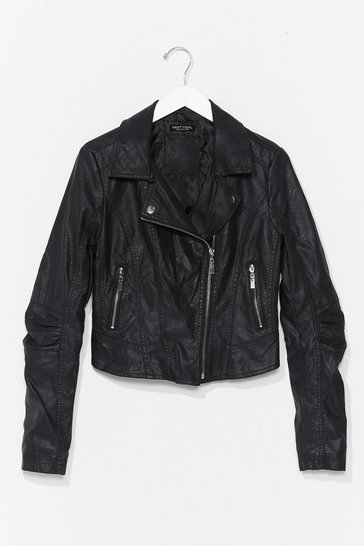 Black We Bike It Like That Faux Leather Jacket