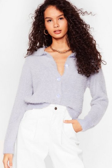 Blue The Soft Parade Fluffy Knit Button-Down Cardigan