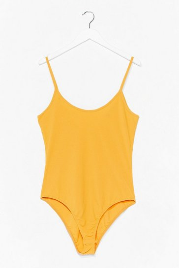 Mustard On Rib-peat Plus High-Leg Bodysuit
