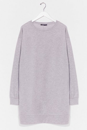 Grey Don't Sweat It Plus Sweatshirt Dress