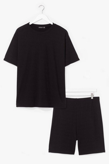 Black Straight Chillin' Plus Tee and Biker Shorts Set