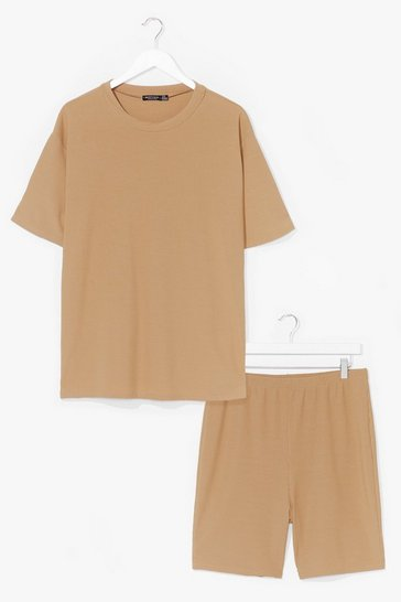 Tan Straight Chillin' Tee and Biker Shorts Set
