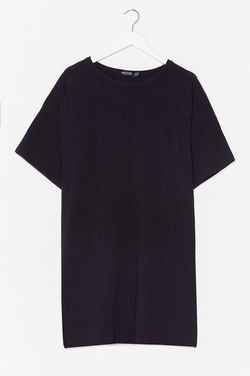 Black From Our Perspective Ribbed Plus Tee Dress