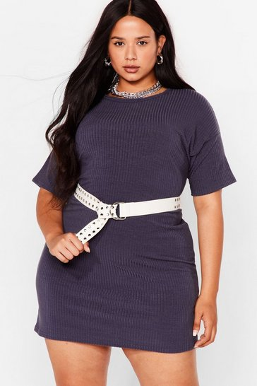 Grey Plus Size Ribbed Mini T-Shirt Dress