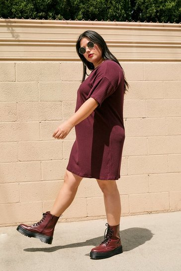 Wine From Our Perspective Ribbed Plus Tee Dress