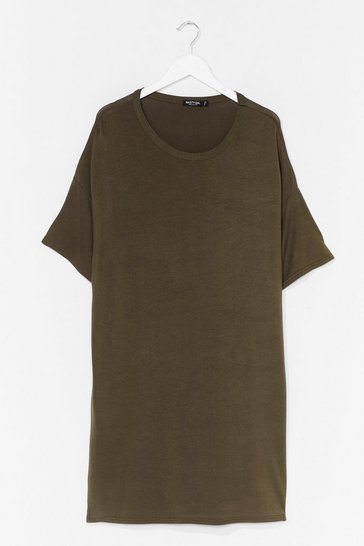 Khaki Drop Topic Plus Tee Dress