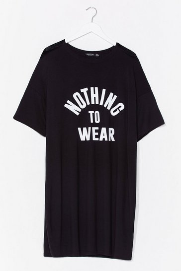 Black Nothing to Wear Plus Graphic Tee Dress