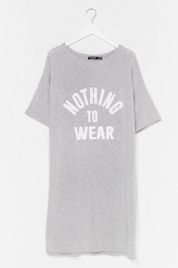 Grey Nothing to Wear Plus Graphic Tee Dress