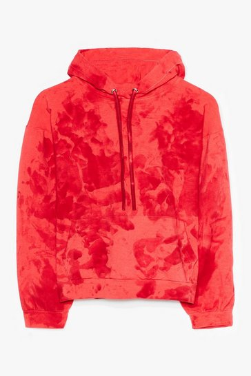 Red Cool to Be Kind Plus Tie Dye Cropped Hoodie