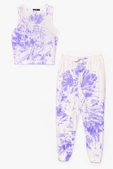 Lilac Plus Size Tie Dye Jogger And Sweat Co-Ord