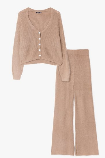 Khaki You and Me Pearl Knit Cardigan and Pants Set
