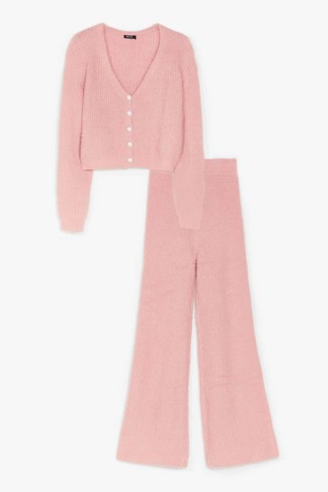 Pink You and Me Pearl Knit Cardigan and Pants Set