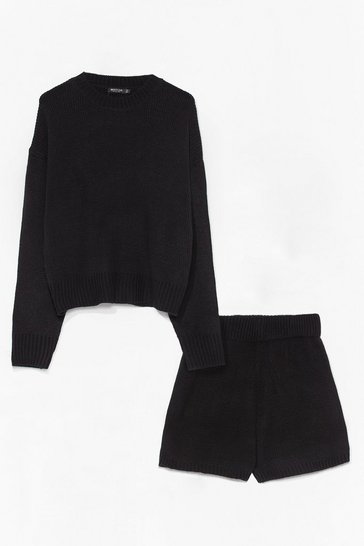 Black Luxe Like Fun Knitted Sweater + Short Lounge Set