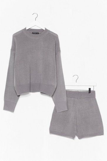 Grey Luxe Like Fun Knitted Sweater + Short Lounge Set