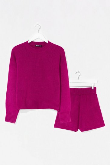 Violet Luxe Like Fun Knitted Sweater + Short Lounge Set