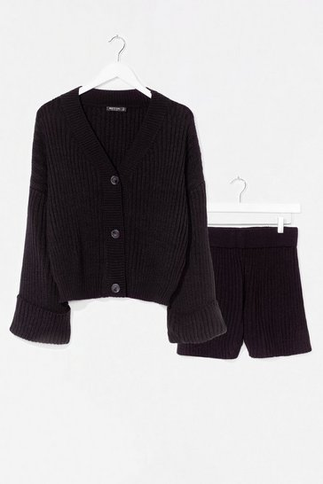 Black Wide Sleeve Button Through Knitted Short Set