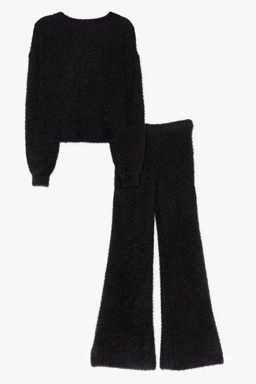 Black Fluffy Knit Wide Leg Pants Set