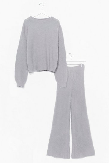 Grey It Takes Two Baby Fluffy Knit Wide-Leg Set