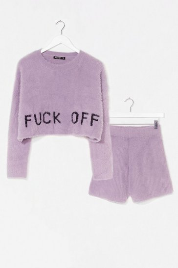 Lilac Get the Message Fluffy Knit Short Lounge Set