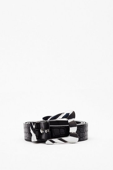 Black Meet Me Halfway Faux Leather Croc Belt