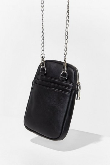 Black WANT Cell You Later Chain Phone Bag