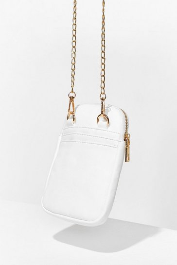 White WANT Cell You Later Chain Phone Bag