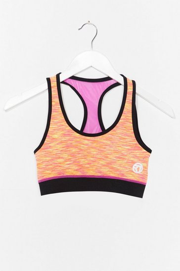 Orange We've Got Moves Contrast Workout Crop Top