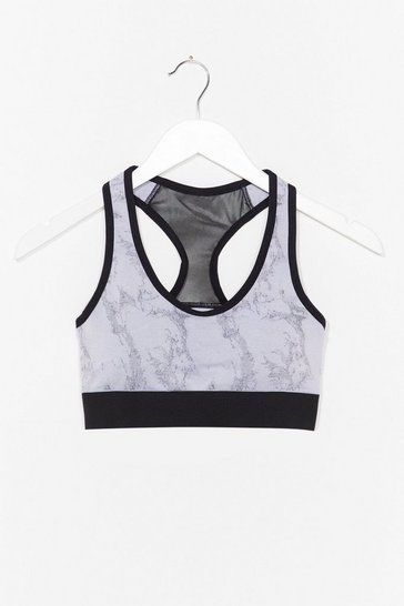 Grey Polish It Off Marble Workout Crop Top