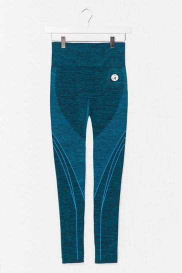 Teal And Breathe Contrast Workout Leggings