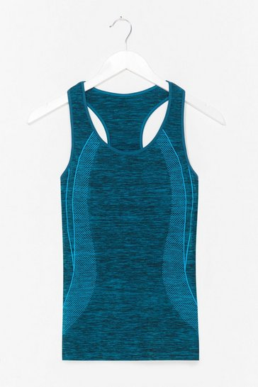 Teal And Breathe Contrast Racerback Workout Top