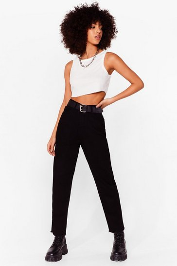 Black In Raw of You High-Waisted Mom Jeans