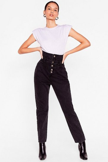 Dark blue Taper It Easy Corset Mom Jeans