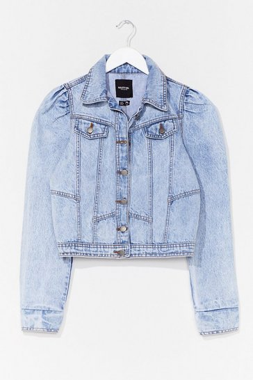 Light blue Exposed Seam Puff Sleeve Denim Jacket