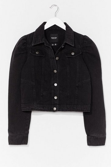 Washed black We Like It Puff Sleeve Denim Jacket