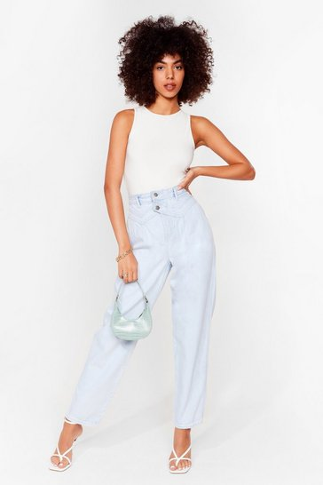 Light blue So It Seams High-Waisted Straight Leg Jeans