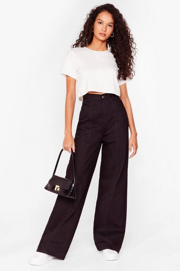 Black Easy as It Seams Wide-Leg Jeans