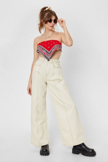 Ecru Been Stitched Up Contrast Wide-Leg Jeans