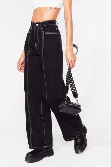 Washed black Been Stitched Up Contrast Wide-Leg Jeans
