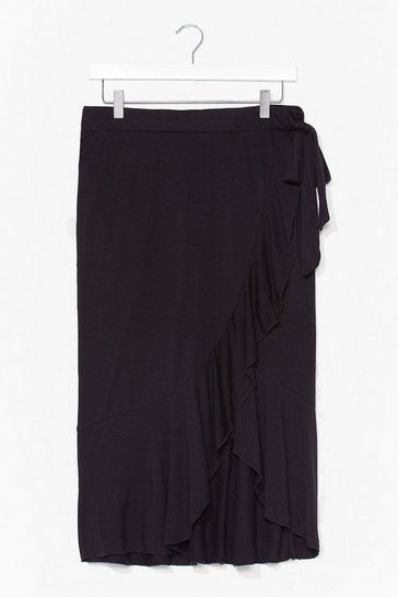 Black Make Me Sway Wrap Midi Skirt
