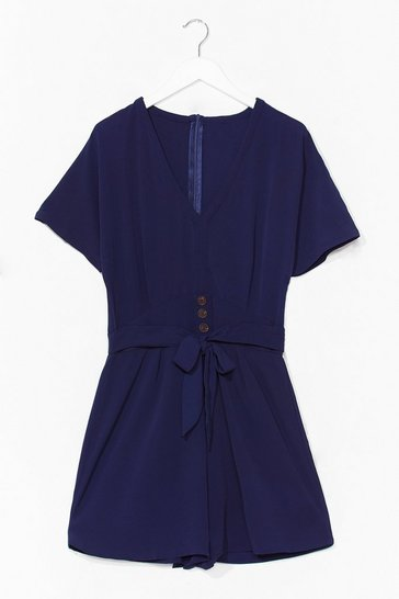 Navy Turn It On Belted Relaxed Romper