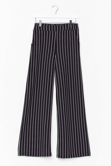 Black 'Til We Get It Stripe Wide-Leg Pants
