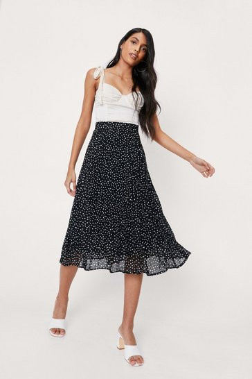 Black Dot-ever You Say Polka Dot Midi Skirt