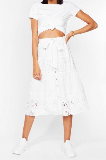 White Button-Down to Party Broderie Midi Skirt
