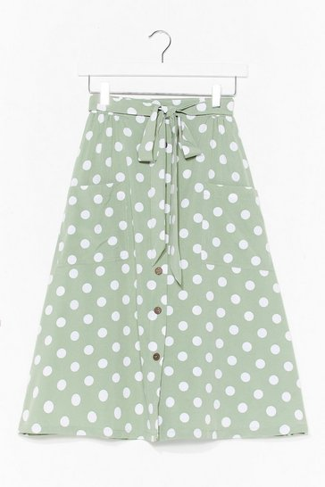 Mint The Midi Ground Polka Dot Skirt