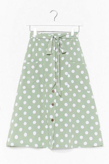 Mint The Midi Ground Polka Dot Skirt