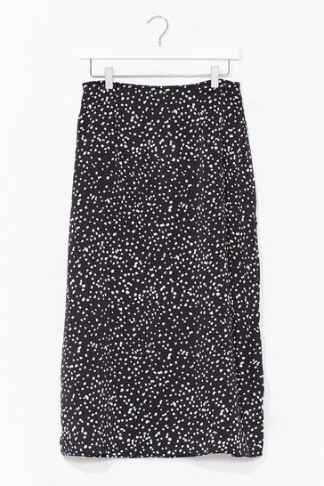Black Slit the Cheque Polka Dot Midi Skirt
