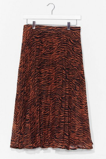 Rust animal print pleated midi skirt